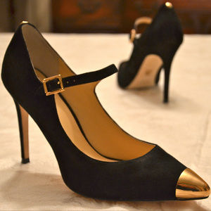 Vince Camuto Gold Cap Toe Mary Jane Pumps